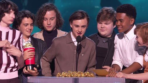 The Losers Club From It Accept The Award For Best On Screen Team